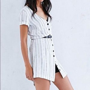 BDG Crepe Stripe Button Front Dress